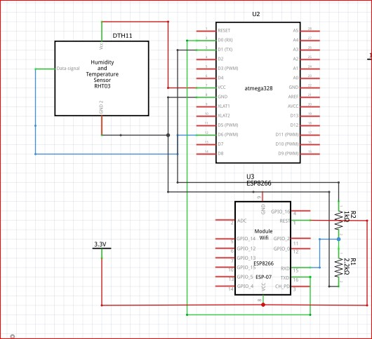 DHT11 and ESP8266 circuit connection to Atmega328P-PU